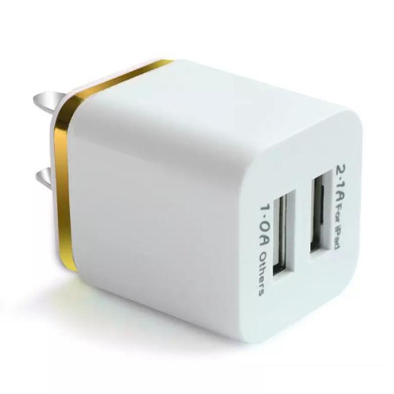Caricatore di ricarica doppia parete USB ITTA Caricabatterie in metallo 2 porte spina 2.1A + 1A Spina adattatore di alimentazione Iphone Samsung Ipad Any Cellphone