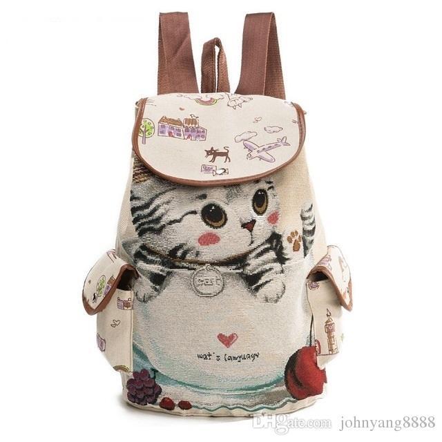 ac4d24cf4bc0 Cute Cat Backpack Women Canvas Backpack Drawstring Printing Backpacks For Teenage  Girls Large Capacity School Bag School Bags Female Backpacks Online with ...