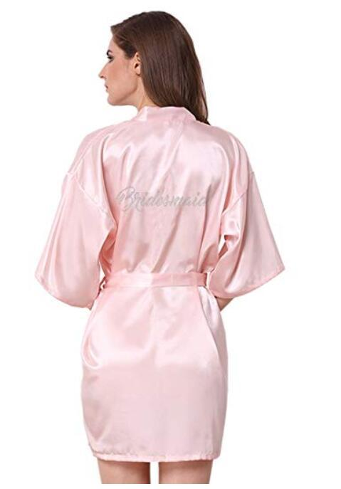 2019 Sexy Champagne Bride Robe Love Arrow Style Satin Kimono Peignoir  Bridal Gold Pink Pajama Bridesmaid Robes Wedding Gift From Yuhuicuo 38423b07d