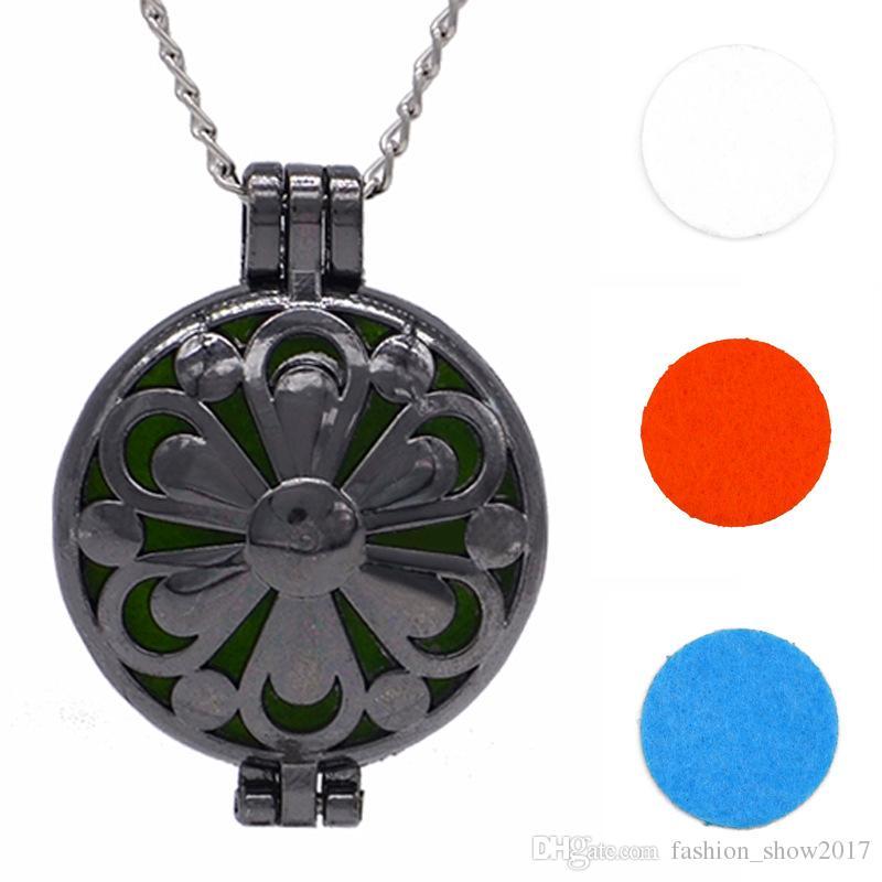 Aroma Difüzör Kolye Açık Vintage Gümüş Lockets Kolye Parfüm Uçucu Yağ Aromaterapi Madalyon Kolye Ile Pedleri
