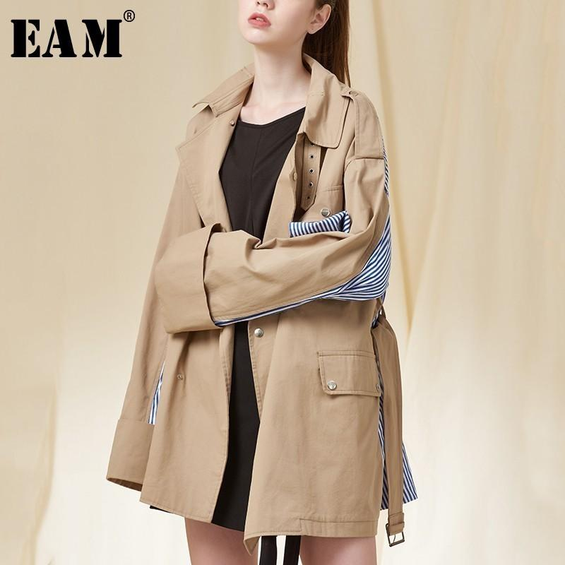 7fa4064687 EAM 2018 Autumn Winter New Fashion Lapel Pockets Buttons Bandag Long ...