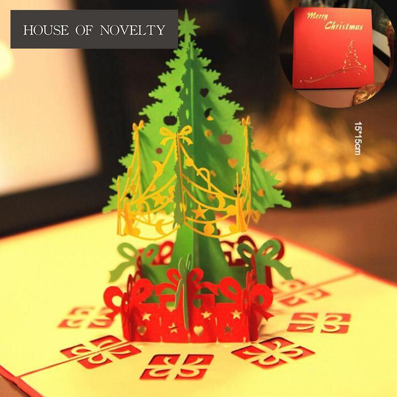 Großhandel Neujahr Weihnachtsbaum Frohe Weihnachten 3d Grußkarte ...