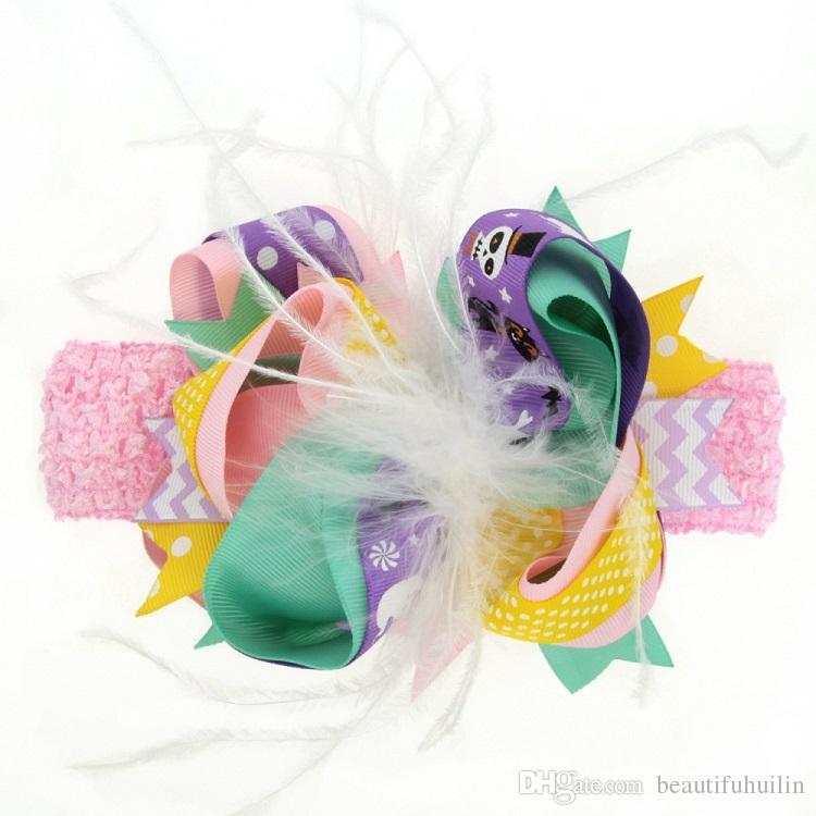 Halloween Dual-use Kids Feather Hair Bow With Clips Hairpin Headband Baby Girls Handmade Hair Clip Headband Beautiful HuiLin DW119