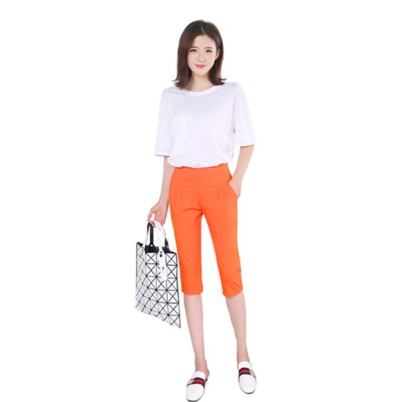 YESVVT Mujeres Pantalones Verano 2017 Más El Tamaño 5XL color de caramelo flaco delgado Pantalones lápiz elástico pantalones Capris para mujeres