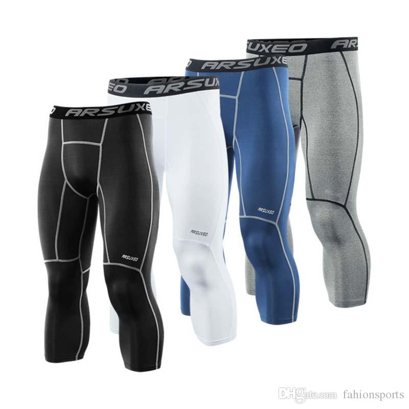 Men's 3/4 Running Tights Compression Sport Leggings Gym Fitness Sportswear Training Yoga Pants for Men Cropped Trousers
