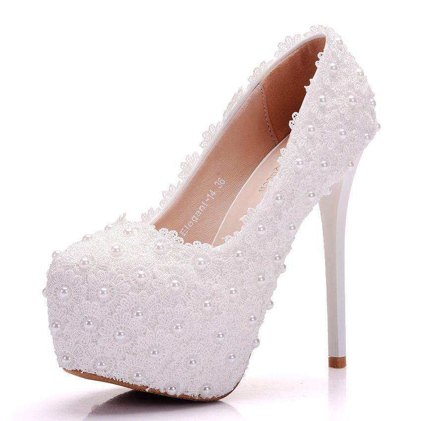 a63cbfe955b Women High Heels Round Toe Leather Lace White Dress Wedding Shoes ...