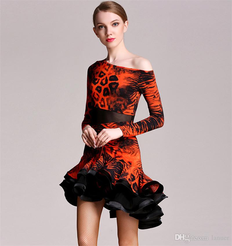 Hot Sale Adult/Girls Latin Dance Dress Salsa Tango Chacha Ballroom Competition practice Dance Dress Long Sleeve Leopard Skirt Suit