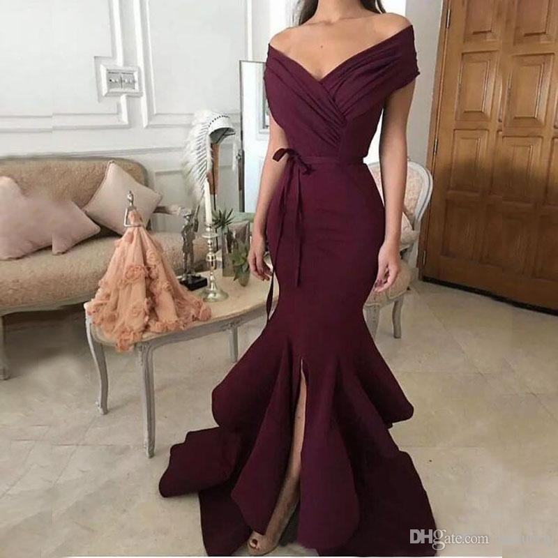 Elegant Abendkleider Burgundy Mermaid Evening Dresses 2018 Off ...