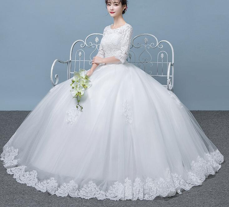 Real Photo Vintage Lace Up Ball Wedding Dresses 2018 Customized Plus Size Bridal Wedding Gowns