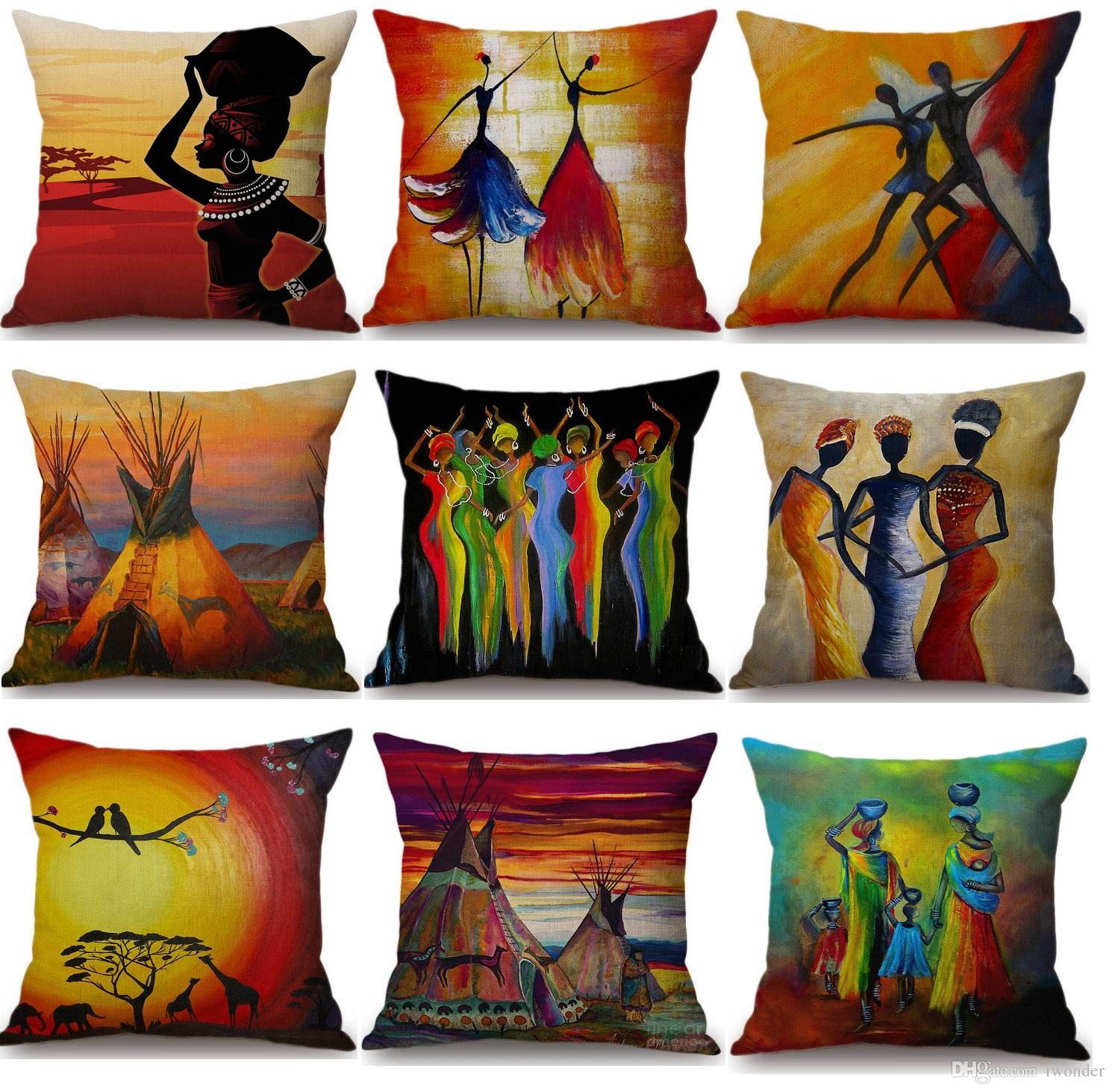 Acheter Afrique Peinture Art Africain Impression Exotique Décoration Style  Housse De Coussin 15 Styles Lin Peinture À Lu0027huile Coussin Couverture  Chambre ...