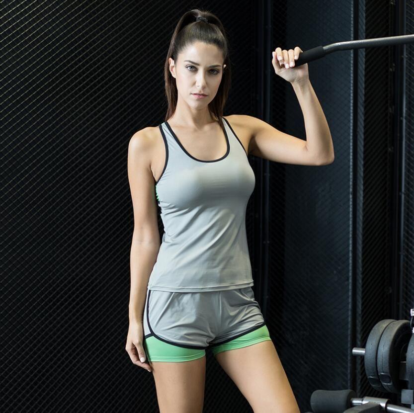 6e675230ed8b New Women Summer Sports Set High Quality Shorts Tank Top Sleeve ...