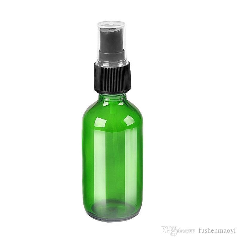 زجاجات الزجاجة الخضراء مع بخاخ مضخة بخاخ أسود جميل مصممة للزيوت العطرية منتجات تنظيف زجاجات الروائح