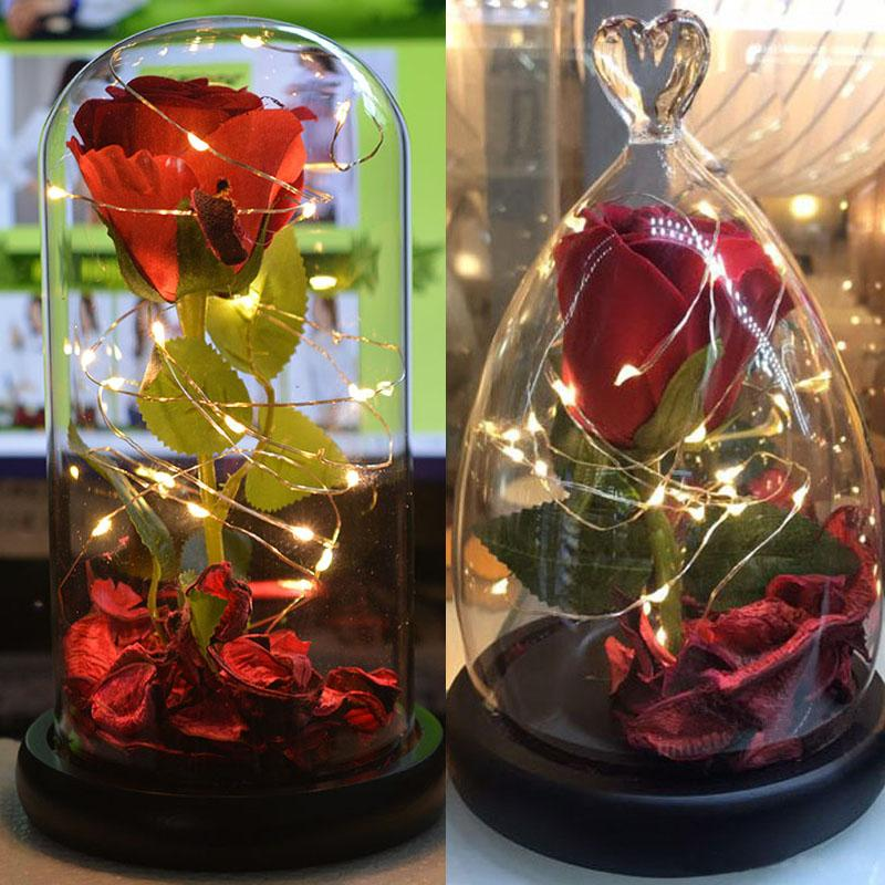 2019 Red Rose Christmas Party Birthday Gift Wedding Props Glass Dome