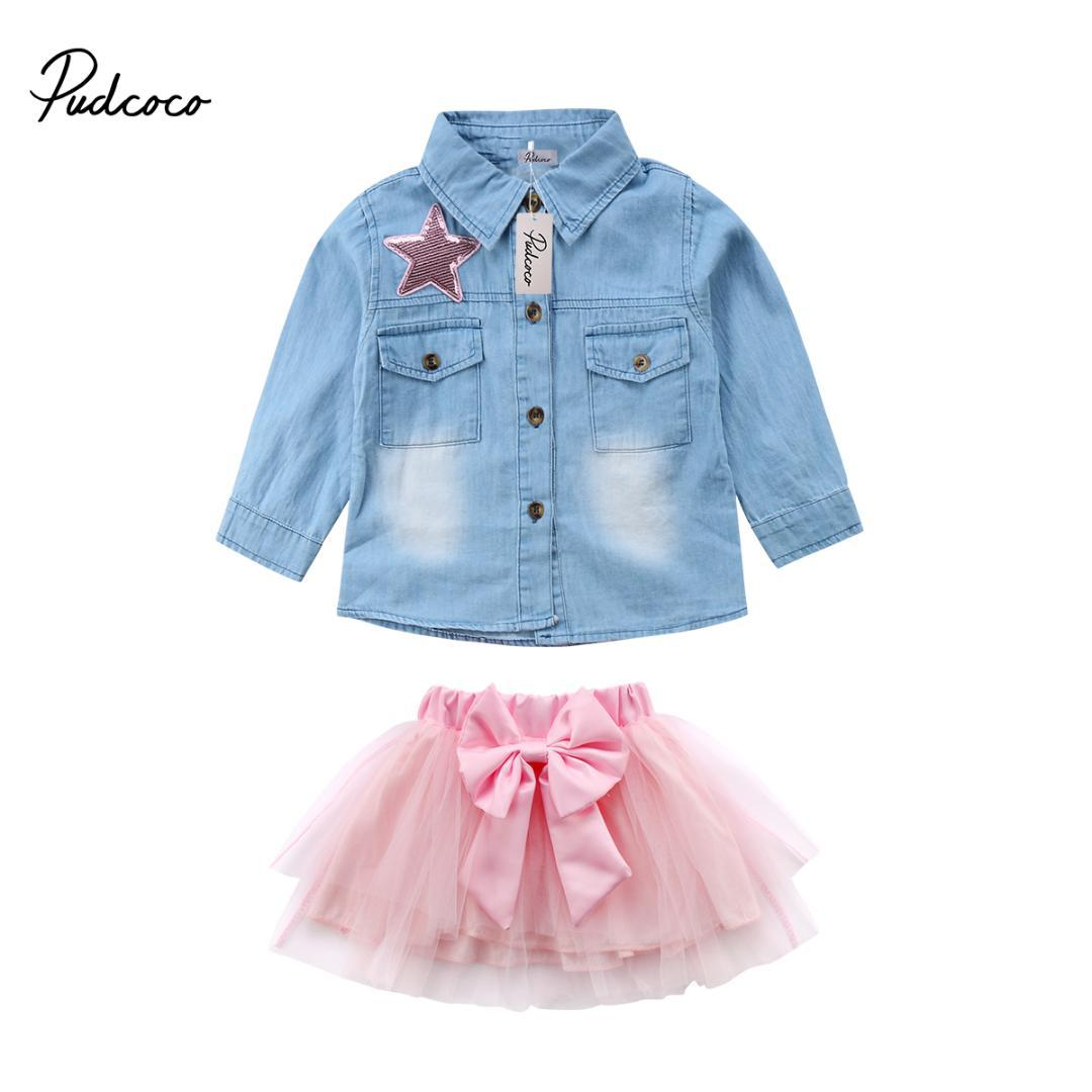 c9ccdf5a6 2Pcs Kid Baby Girls Jeans Denim Tops T-shirt Shirt + Lace Bowknot Skirt  Dress Outfits Clothing Sets