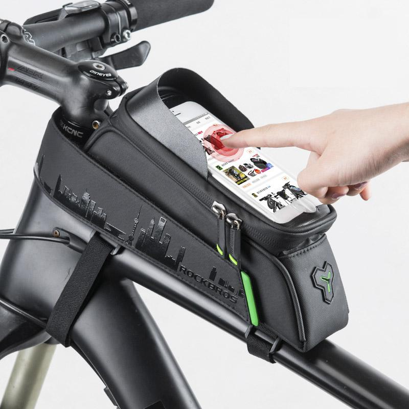 6381832746 ROCKBROS Bicycle Front Tube Bags GPS Phone Touch Screen Waterproof Frame  Panniers For 5.8 6 Inch MTB Road Cycling Accessories Bike Messenger Bags  Business ...
