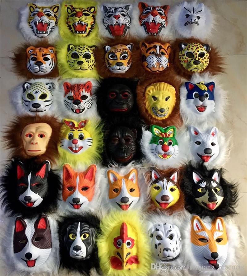 plush animal masks lion leopard fox children EVA mask halloween costumes Halloween mask toy best gift for child halloween chirstmas
