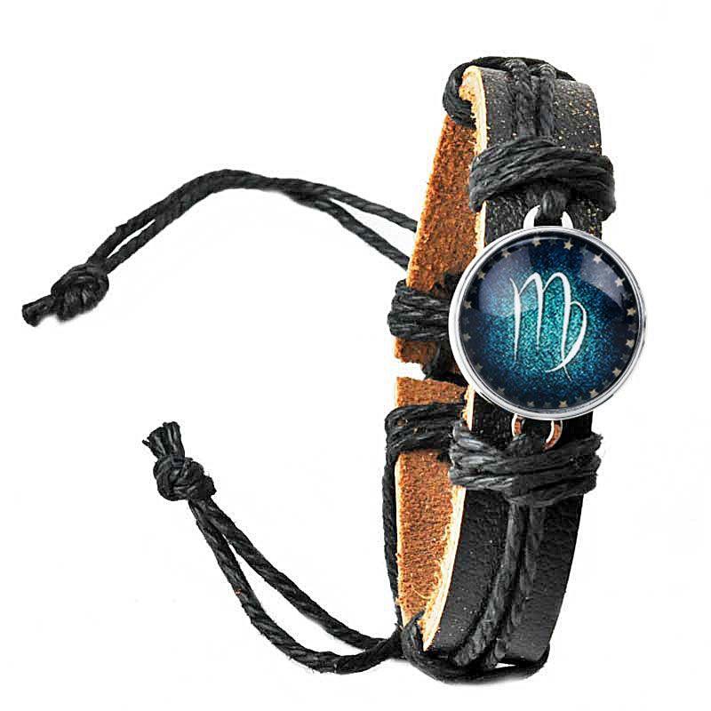 2018 Newest Fashoin Glow At Night 12 Constellation Bracelet For Men Women Braided Leather Bracelet Jewelry Personality Bracelet