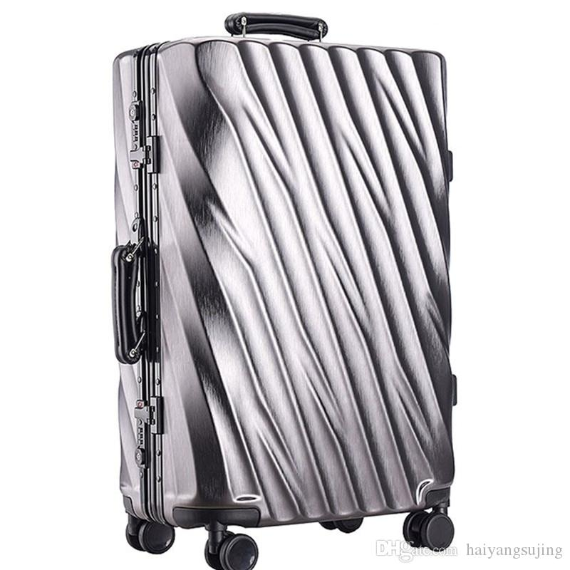 2018 20 24 28 Inch Aluminum Frame Rolling Luggage Bag Full Metal Travel Suitcase Luxury Brand Business Brushed Abs Pc Trolley Bags From Haiyangsujing