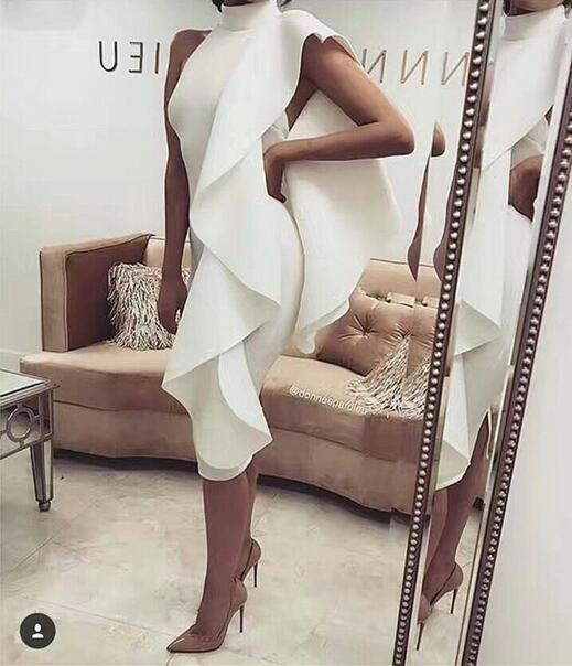 Meow 2018 New Style Spring Dress Women Sexy White Sleeveless Patchwork Bodycon Ruffles Vestidos Celebrity Party Dress Clubwear