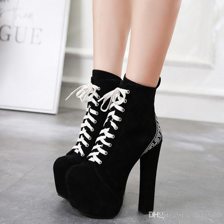 Compre Trendy Negro Blanco Con Cordones Alfabeto Estampado Botines Para Mujer  Plataforma Zapatos De Tacones Altos Gruesos Tamaño 35 A 40 A  35.21 Del ... 5d130776e828