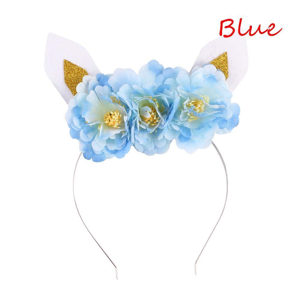Kids Girls Cat Animal Ears Headbands Cute Glitter Flower Crown Head