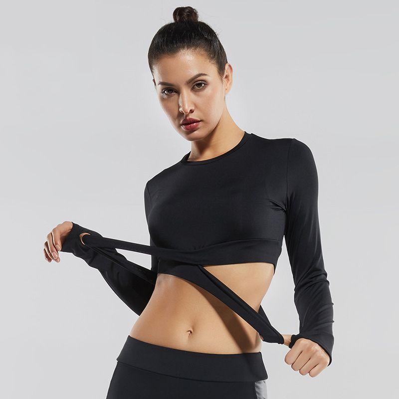 2018 Women Gym White Yoga Crop Tops Yoga Shirts Long Sleeve Workout