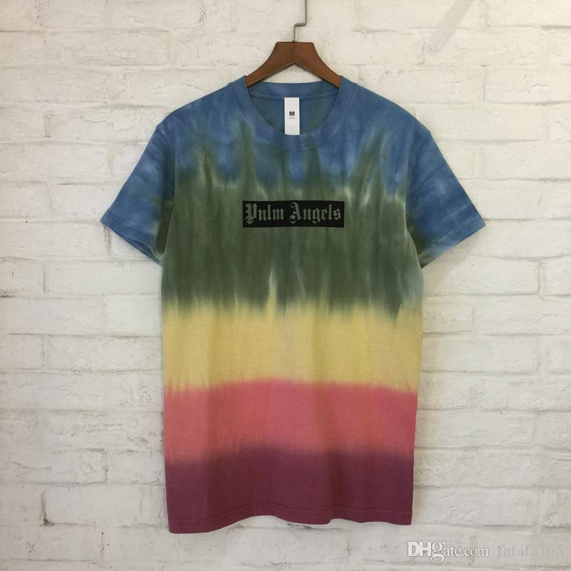 d7800fa4c97b5 Acheter 2018 Pa Imprimé Gradient Couleur Femmes Hommes T Shirts T Shirts  Hiphop Streetwear Hommes Coton Casual À Manches Courtes T Shirt De  15.27  Du ...