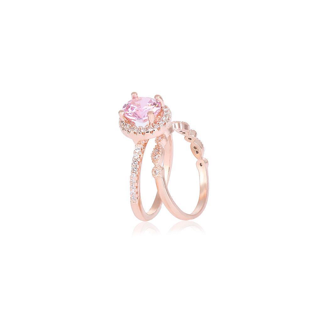 2019 Rose Gold Thin Engagement Ring Set Fashion Cystal Rhinestone