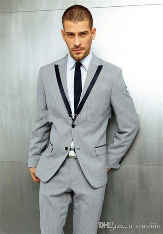 Light Grey Groom Tuxedos Slim Fit Best Groomsmen Suit Mens Wedding ...