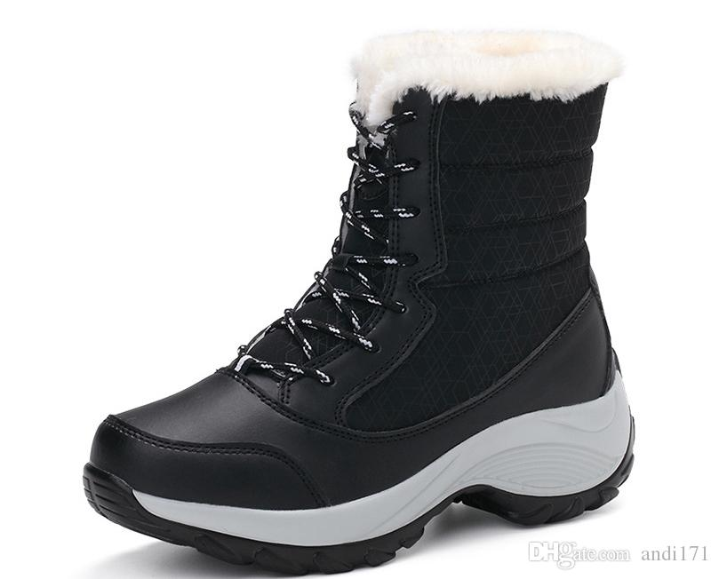 60dcf7716936 2018 Winter Boots High Women Snow Boots Plush Warm Shoes Plus Size 35 To  Big 42 Easy Wear Girl White Zip Shoes Female Hot Boots Red Shoes Footwear  From ...