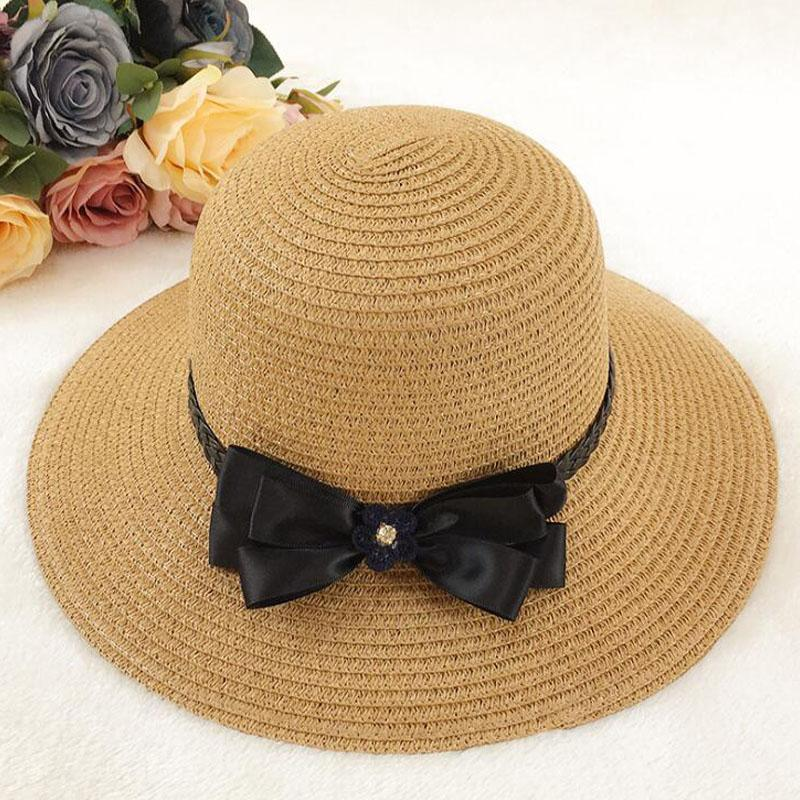 36a703c618f 2018 New Fashion Sun Caps Bow Tie Ribbon Straw Hat Round Flat Top Straw  Beach Hat Summer Hats For Women Snapback Fedora Hats Visor Hats From  Fashionable16