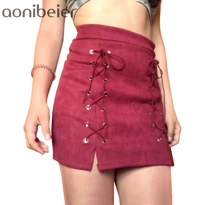 42bccbf8d6 2019 2018 Women Mini Lace Up Skirt Vintage All Match Skirts Fashion Autumn  Winter High Waist Short Pencil Skirt From Super004