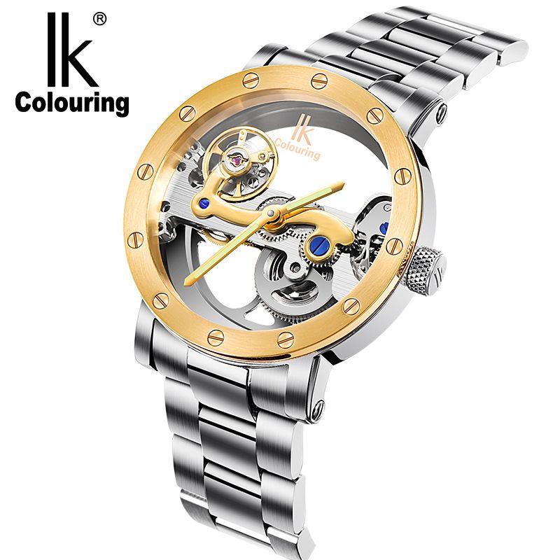 04a1b34a66f Compre IK Coloração De Ouro Oco Relógios Mecânicos Automáticos Homens De  Luxo Da Marca Pulseira De Couro Ocasional Do Vintage Relógio Esqueleto  Relógio ...