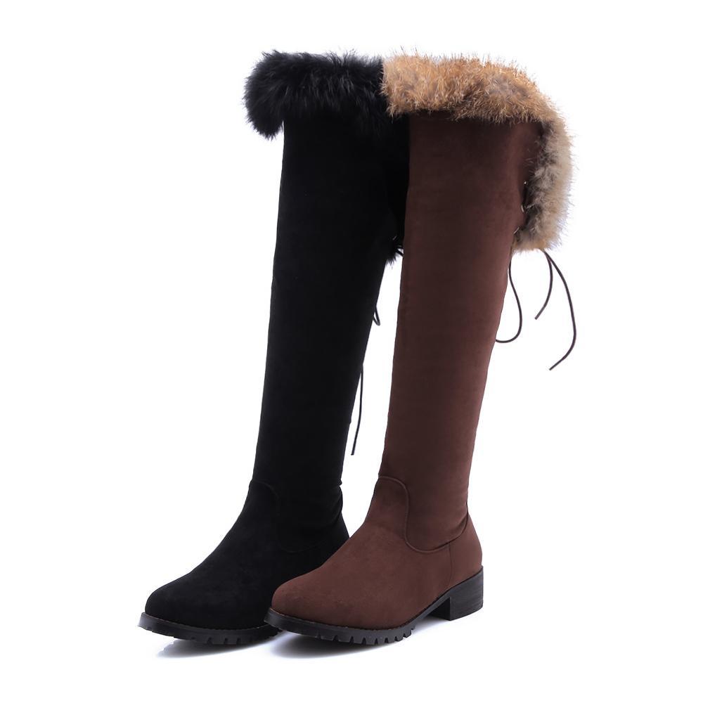 quality design 8936e 32f56 Große Größe 34-43 Overknee Stiefel Mode Schuhe Frauen halten warme Schnee  Stiefel High Heels Schuhe Winterstiefel Herde