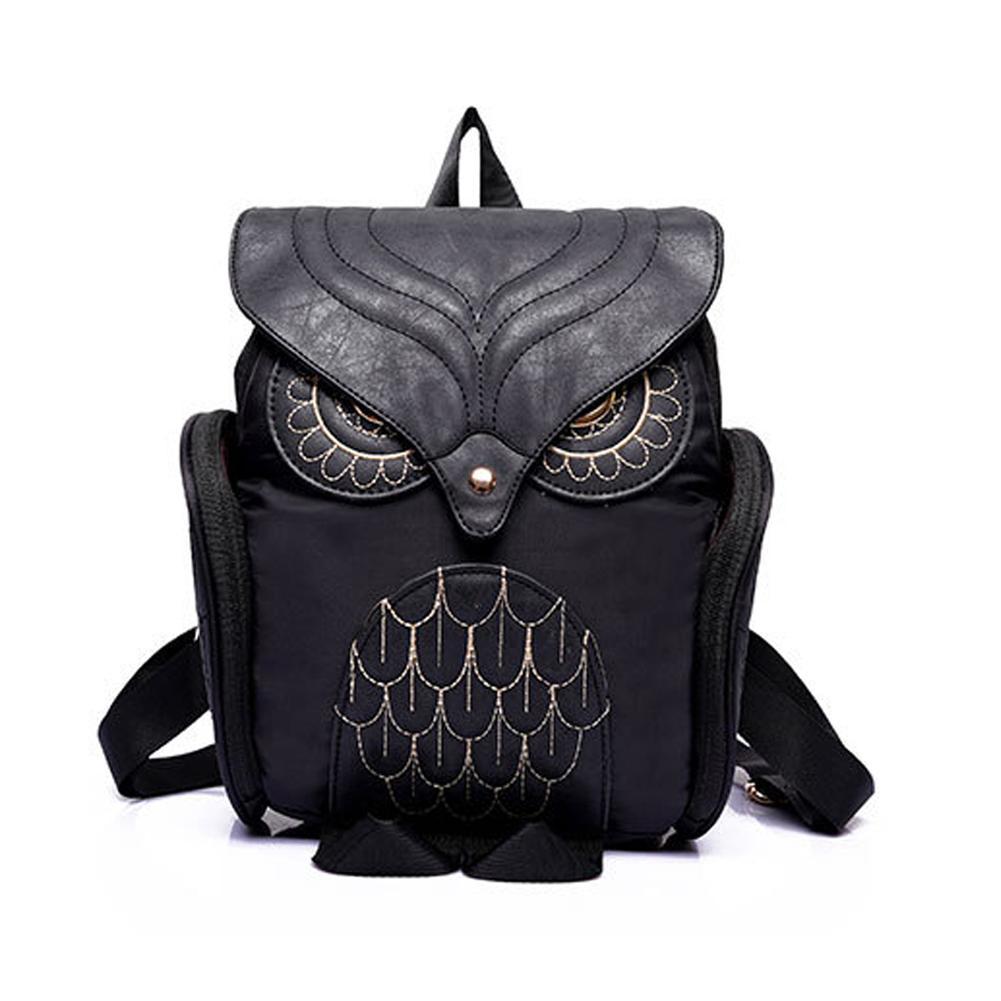 2018 New Fashion Women Backpack Cool Black PU Leather Owl Backpack ... b2eeb1716b7e9