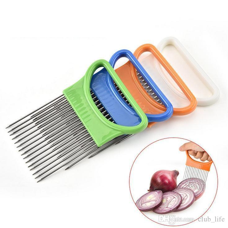 Easy Cut Onion Holder Fork Stainless Steel +Plastic Vegetable Slicer Tomato Cutter Metal Meat Needle Gadgets Meat Frok