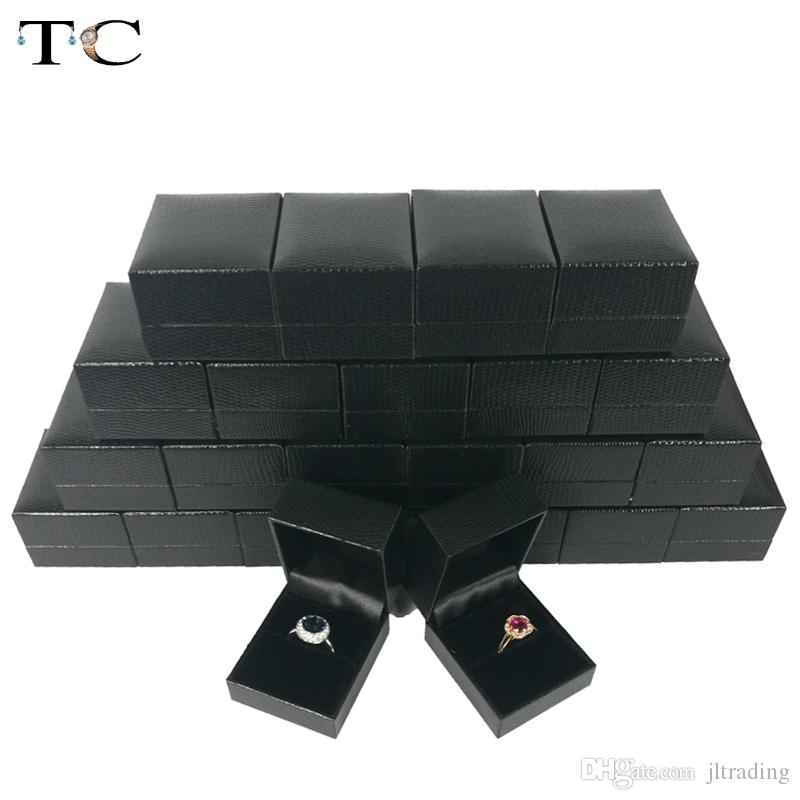 Wholesale High Quality Black Leatherette Leather Jewelry Box Ring Package Packaging Gift Boxes Ring Storage Organizor