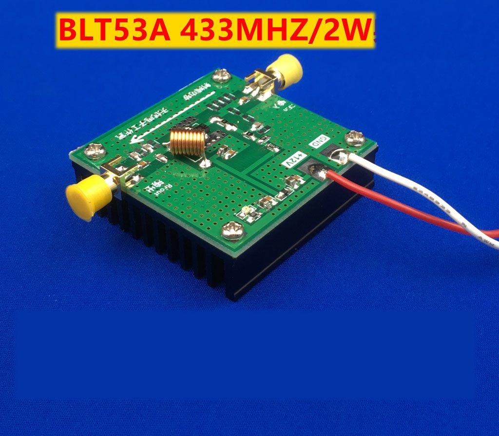 Freeshipping BLT53A 433M 2W power broadband RF power amplifier high gain  with heat sink for HF FM VHF UHF RF ham radio