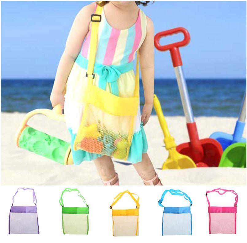 i all'ingrosso Blanks Bambini Mesh Shell Beach borsa a forma di conchiglia bambini Spiaggia Giocattoli Ricevi sacchetti di sabbia di rete