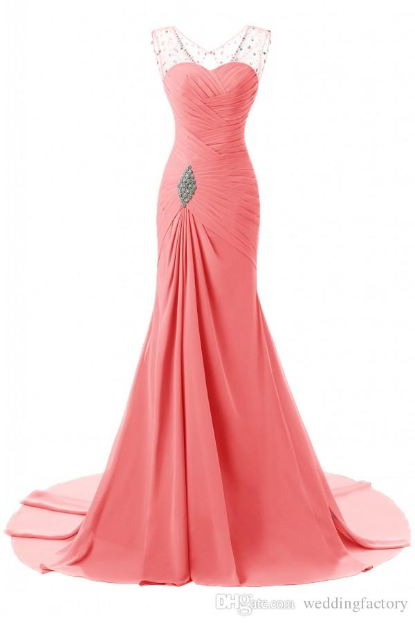 Custom Colors Long Mermaid Evening Dress V Neck Crystals Ruched Chiffon Sleeveless Corset Back Hunter Coral Blue Prom Gowns Sweep Train