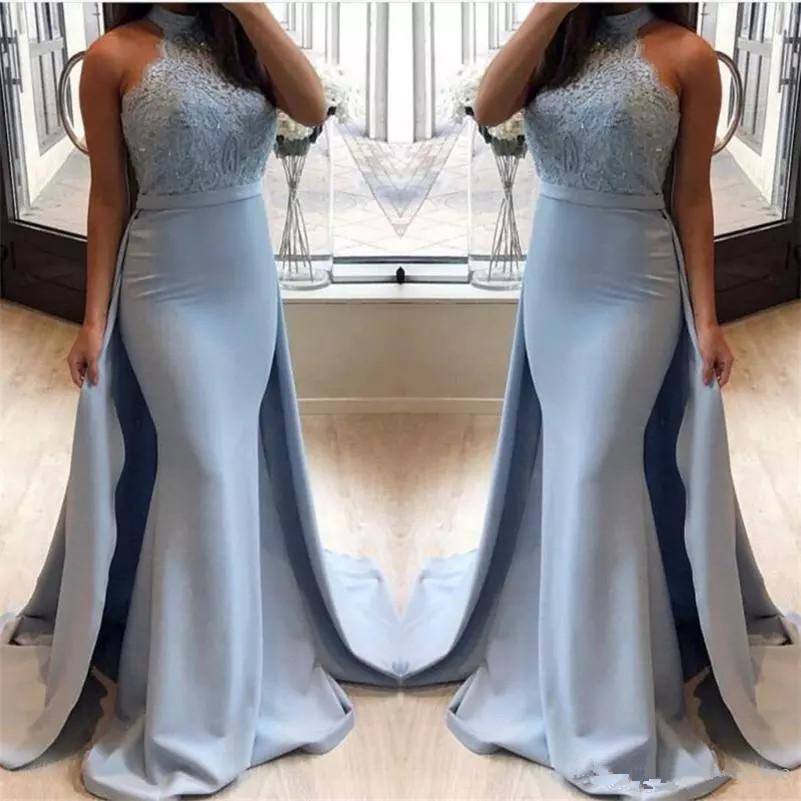 Hot Sexy Mermaid Prom Kleider Sky Blue Halfter Trauzeugin Kleider Abendgarderobe Spitze Und Satin Brautjungfer Kleider Langen Reißverschluss Zurück