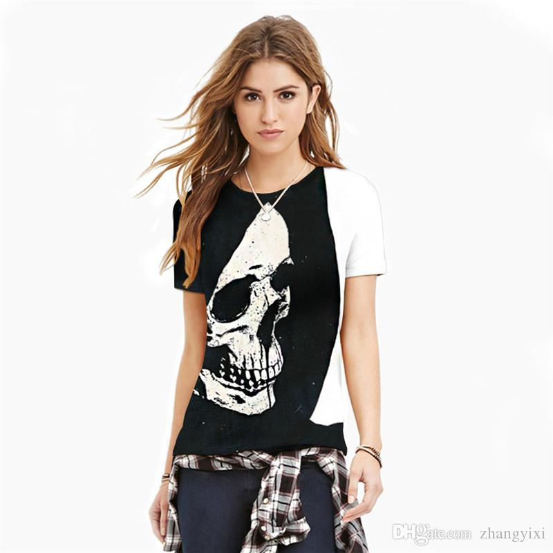 Wholesale Fashion Men Summer Unisex 3D Skull Sublimation Printed t shirts Homme Tees Tops