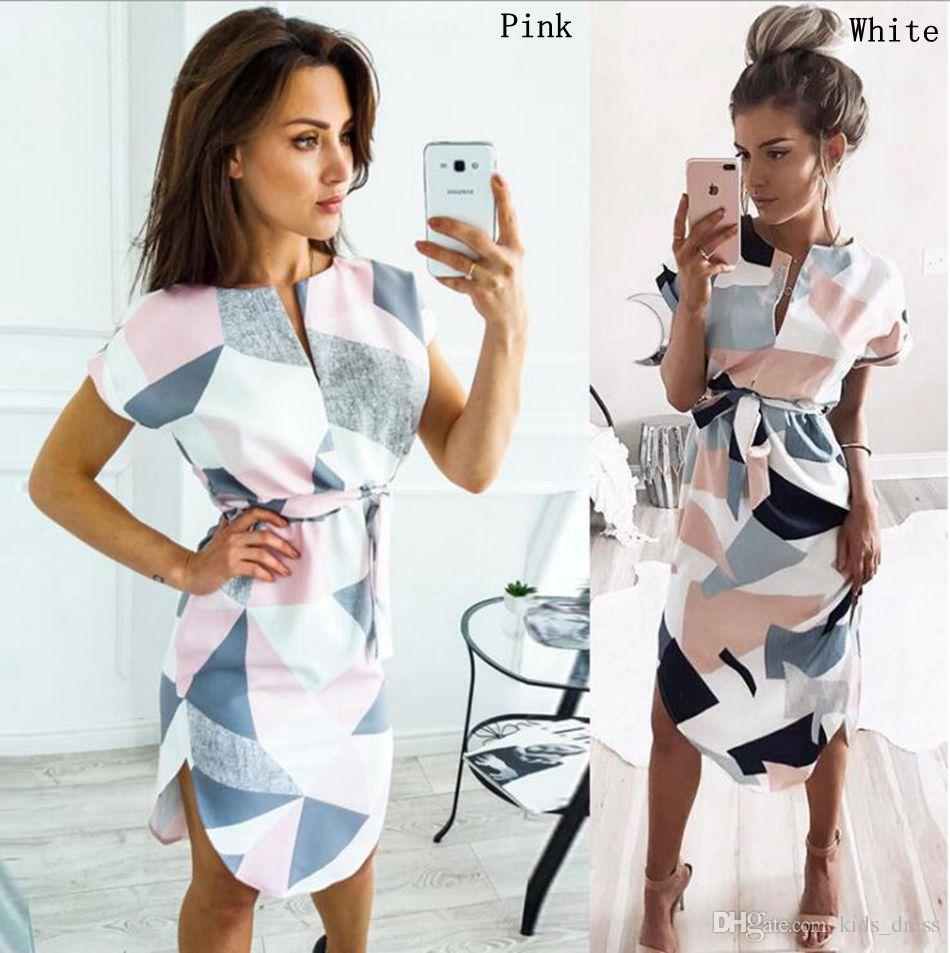 7d9abb5d10d 2019 Summer Dress Party Office Pencil Sexy Casual Color Block Geometric  Print Midi Short Sleeve Deep V Neck Dresses With Belt LJJO4523 From  Kids dress