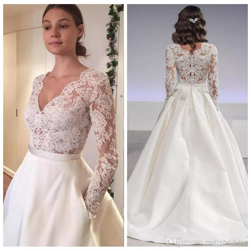 Custom Made V Neck Lace Top Plain Satin Elegant Long: Discount 2018 Long Sleeves Lace Top Wedding Dress Sexy