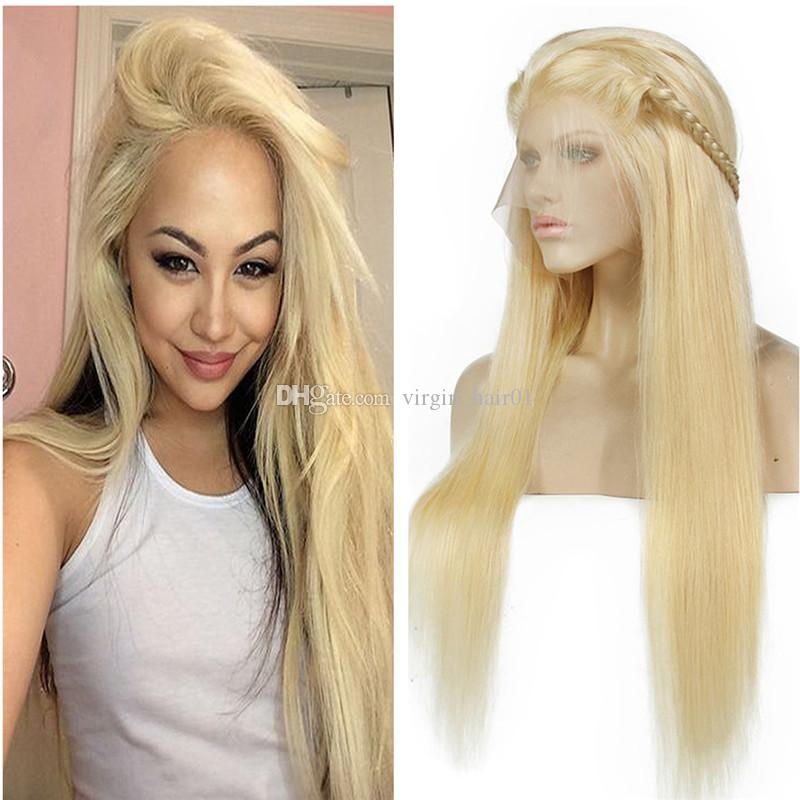 Straight 613 Glueless Full Lace Wigs Remy Human Hair with Baby Hair 100% Human Hair Platinum Blonde for Black Women