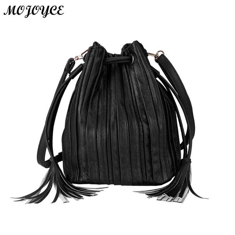 Trendy PU Leather Women Messenger Bags Female Handbags Ladies Shoulder Bag  Tassel Drawstring Crossbody For Girls Casual Leather Bags For Women  Overnight ... d22d94a610d71