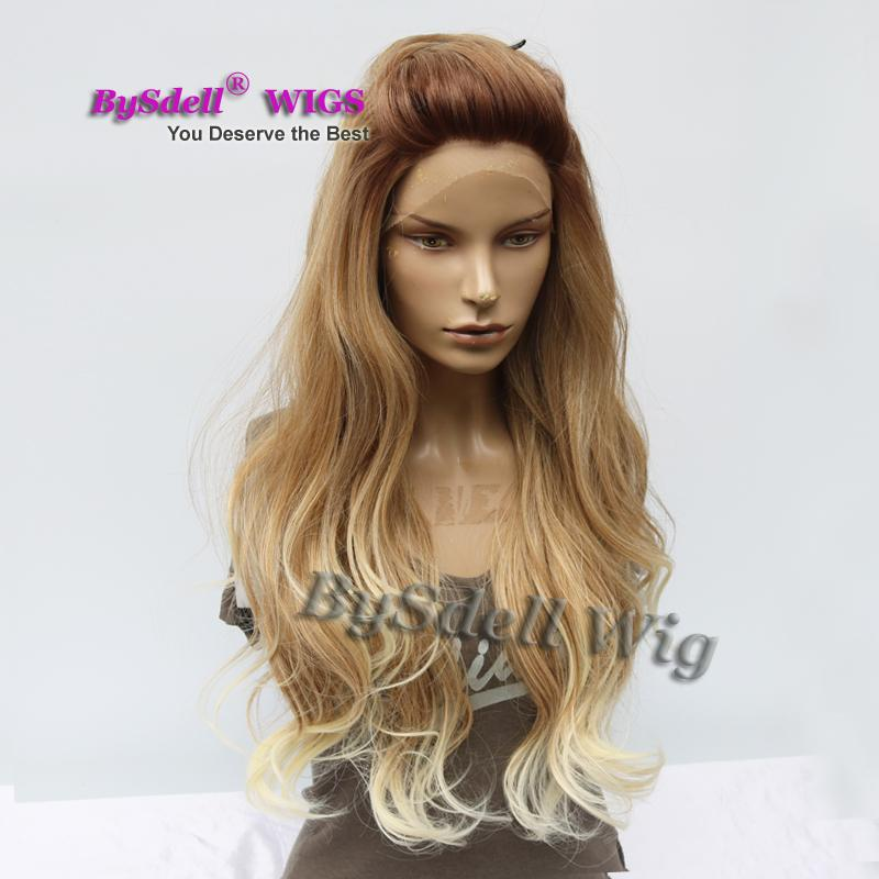 Top Quality Kanekalon Fiber hair front lace wig natural dark blonde color ombre lace front wig with dark roots wigs for white women