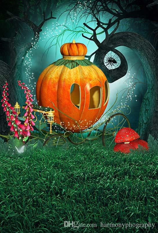 2018 halloween backdrop fairy tale pumpkin car grassland photography backdrops fantasy backgrounds for photo studio party photophone from harmonyphography