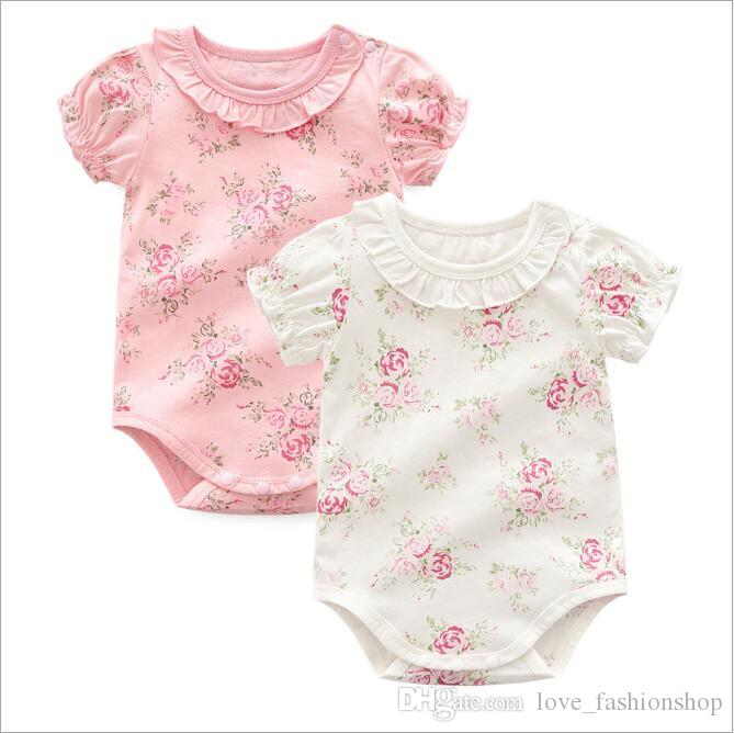 1219eb647f76 2019 Baby Girls Floral Printed Princess Rompers Newborn Short Sleeve Onesies  Jumpsuits Cute Kids Toddler Bodysuit Designer Clothes Clothing From ...