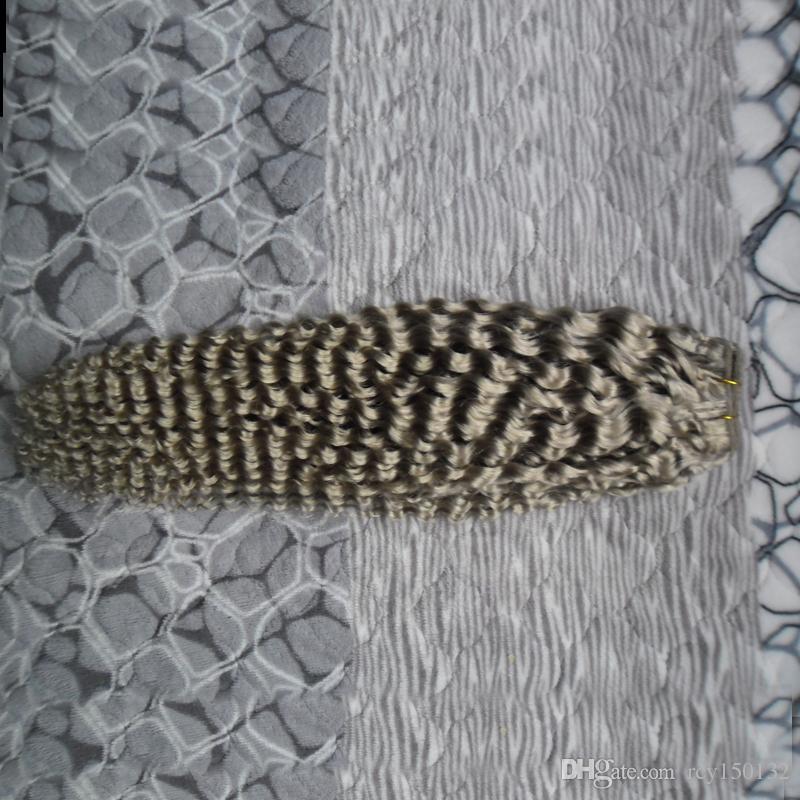 Capelli Vergini brasiliani grigi 1 PZ / Grigio Fasci di Capelli Umani di Colore 100 G Ricci Tessuto Brasiliano Vergine Trama Doppia Trama Dei Capelli 1 pz